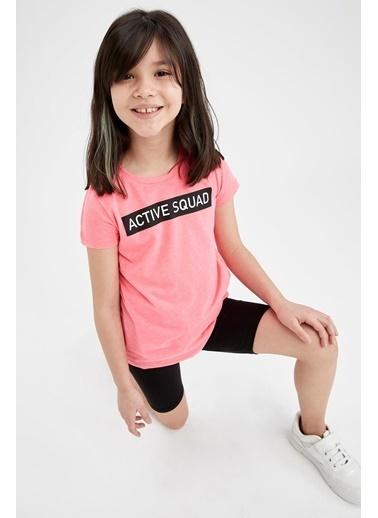DeFacto Kız Çocuk Yazı Baskılı Kısa Kol Tişört Ve Biker Tayt Takım Pembe